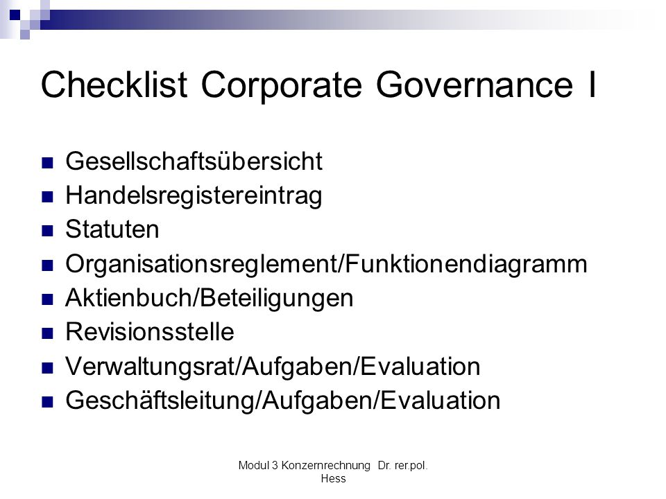Checklist Corporate Governance I