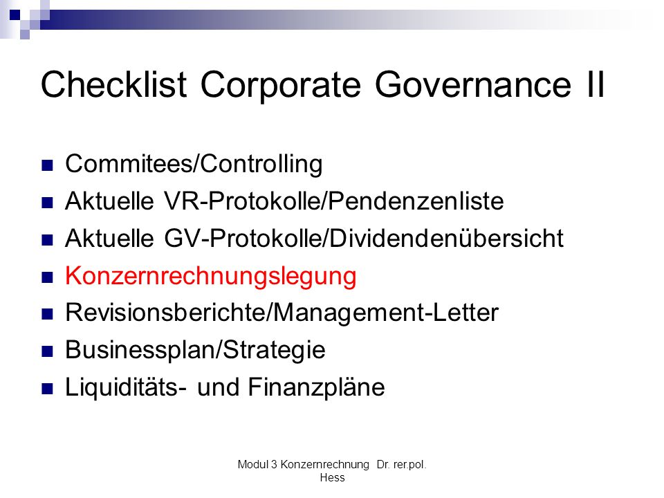 Checklist Corporate Governance II