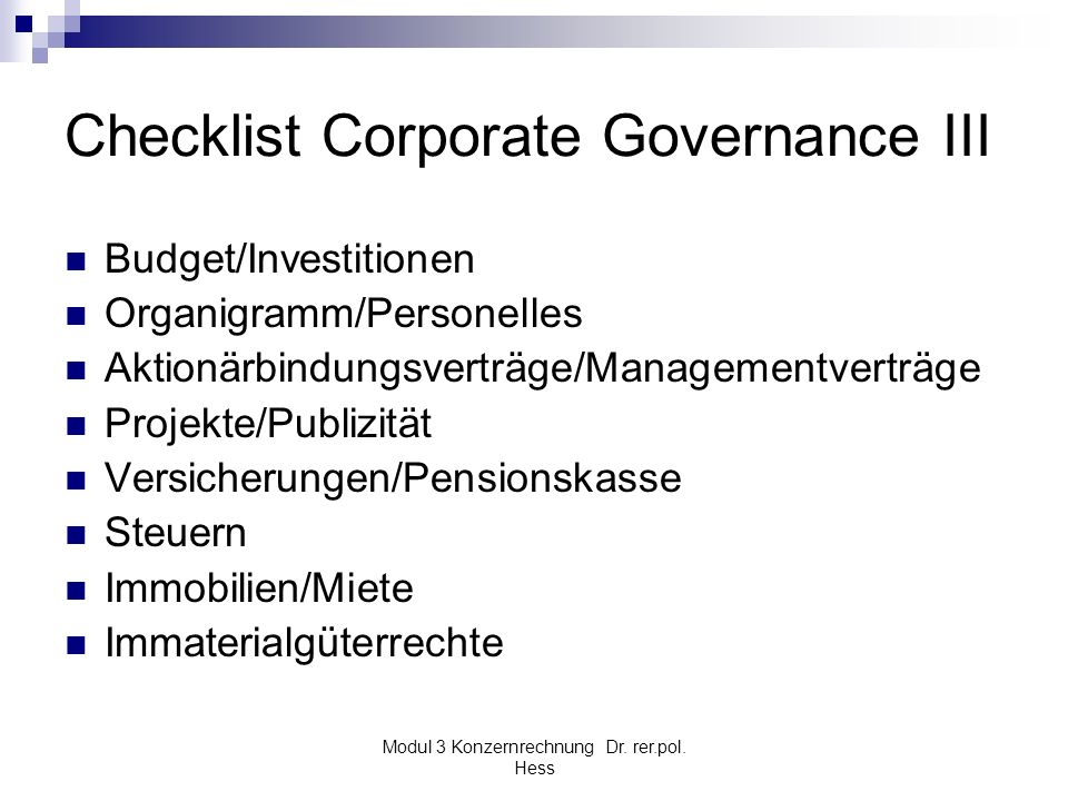 Checklist Corporate Governance III