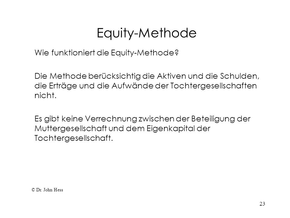 Equity-Methode Wie funktioniert die Equity-Methode