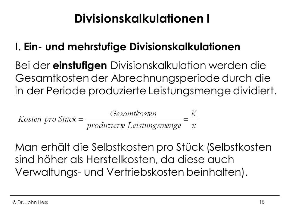 Divisionskalkulationen I