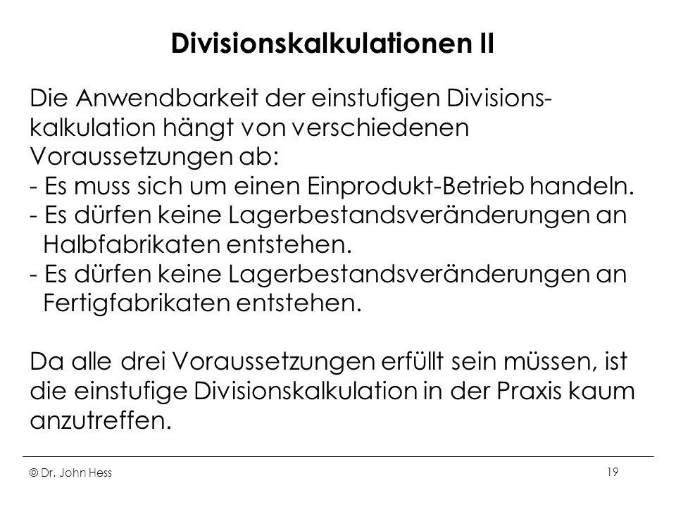 Divisionskalkulationen II
