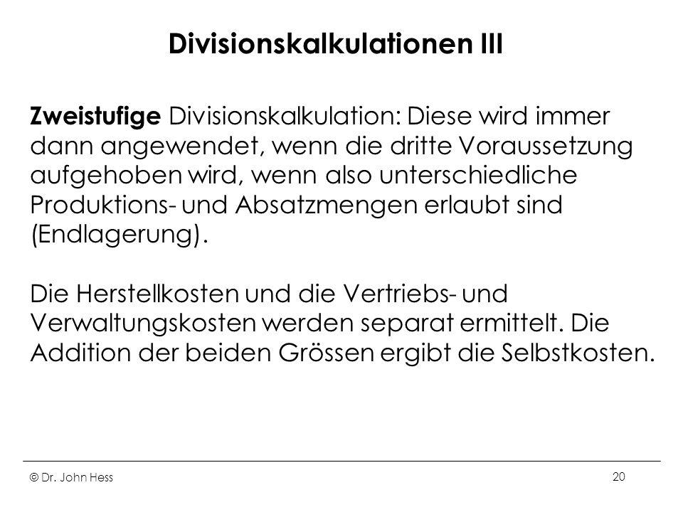 Divisionskalkulationen III