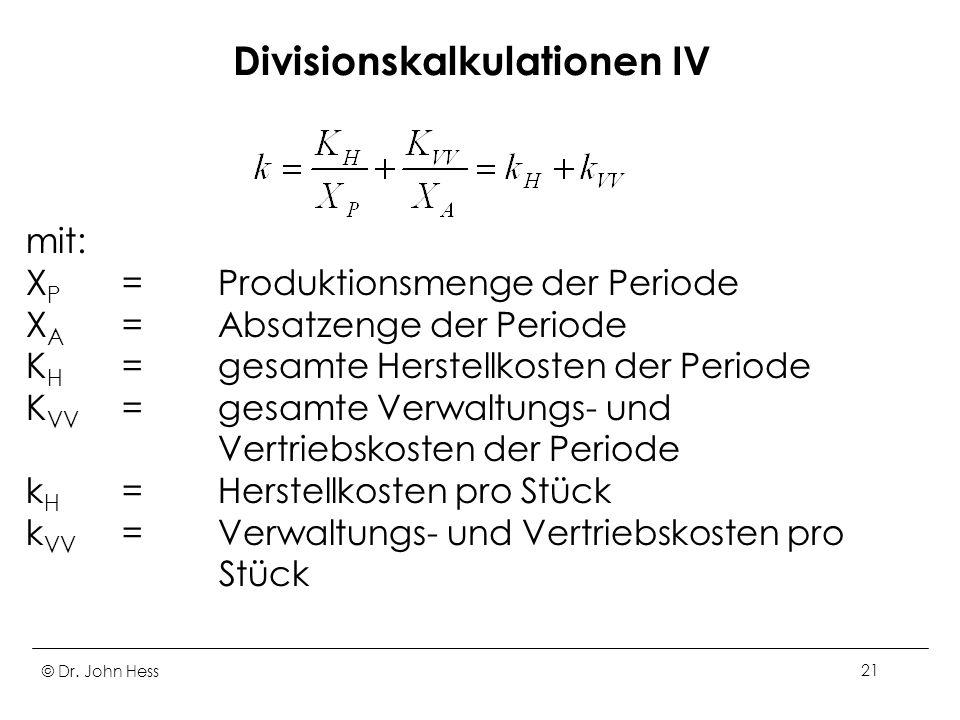 Divisionskalkulationen IV