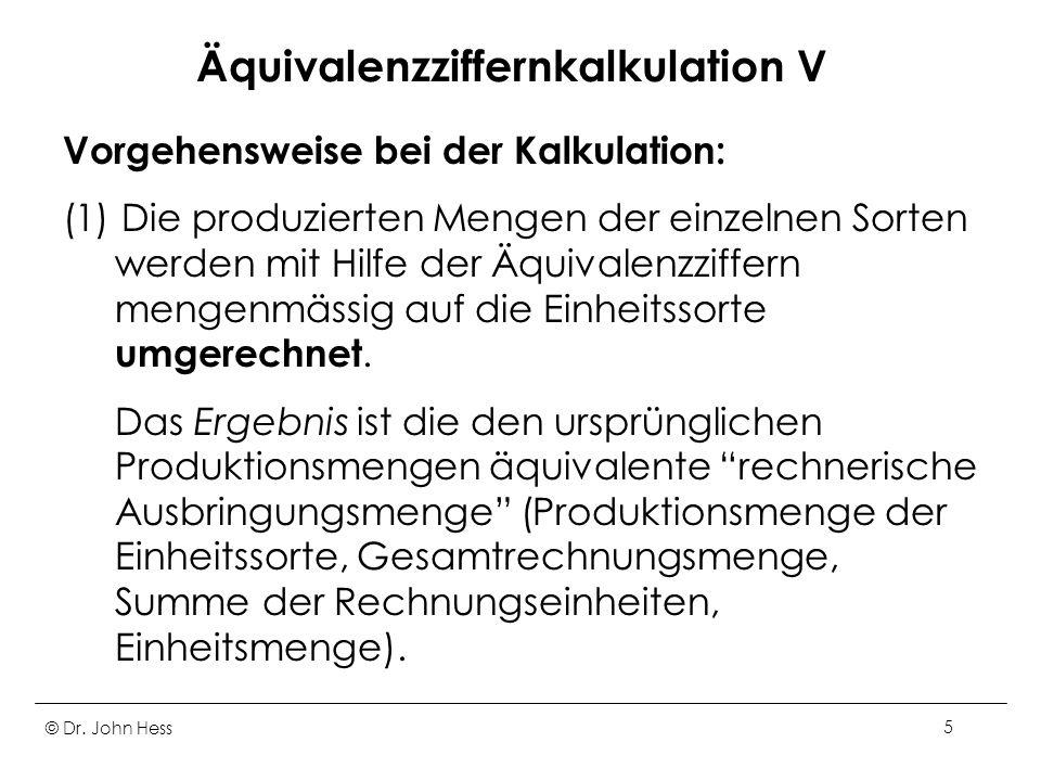 Äquivalenzziffernkalkulation V