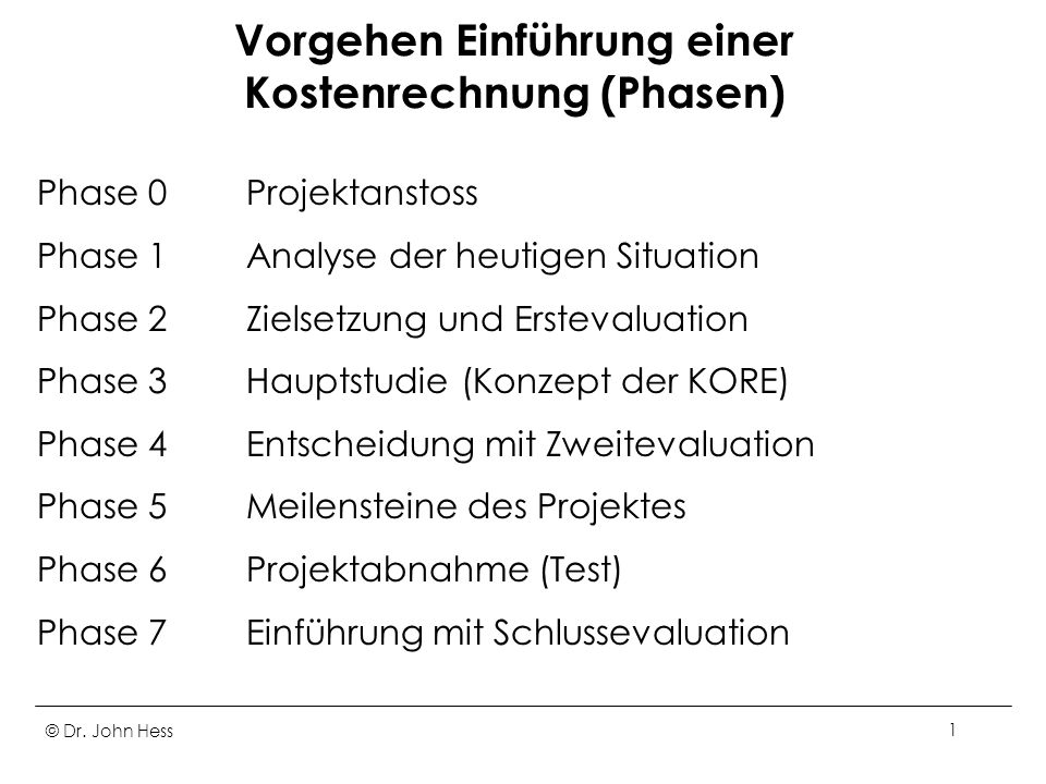 Vorgehen Einführung einer Kostenrechnung (Phasen)