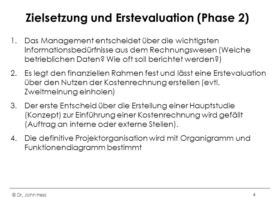 Zielsetzung und Erstevaluation (Phase 2)