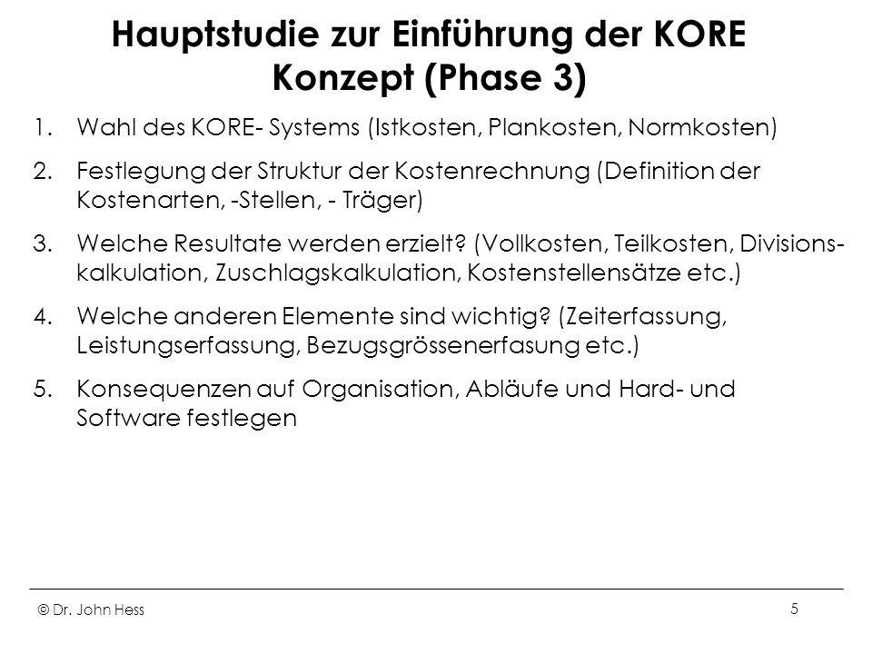 Hauptstudie zur Einführung der KORE Konzept (Phase 3)