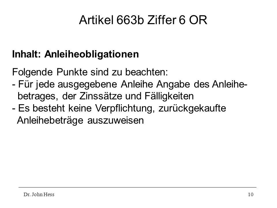 Artikel 663b Ziffer 6 OR Inhalt: Anleiheobligationen