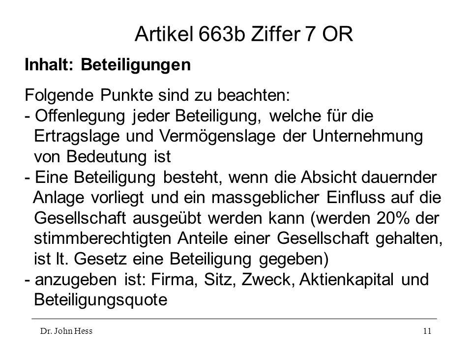 Artikel 663b Ziffer 7 OR Inhalt: Beteiligungen