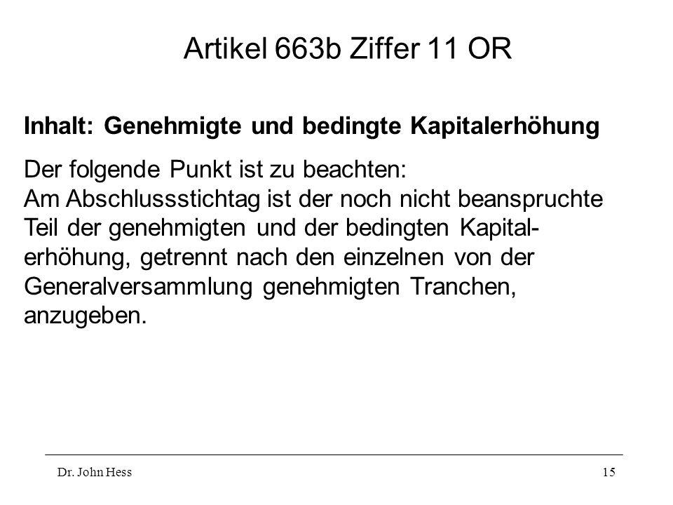 Artikel 663b Ziffer 11 OR Inhalt: Genehmigte und bedingte Kapitalerhöhung.