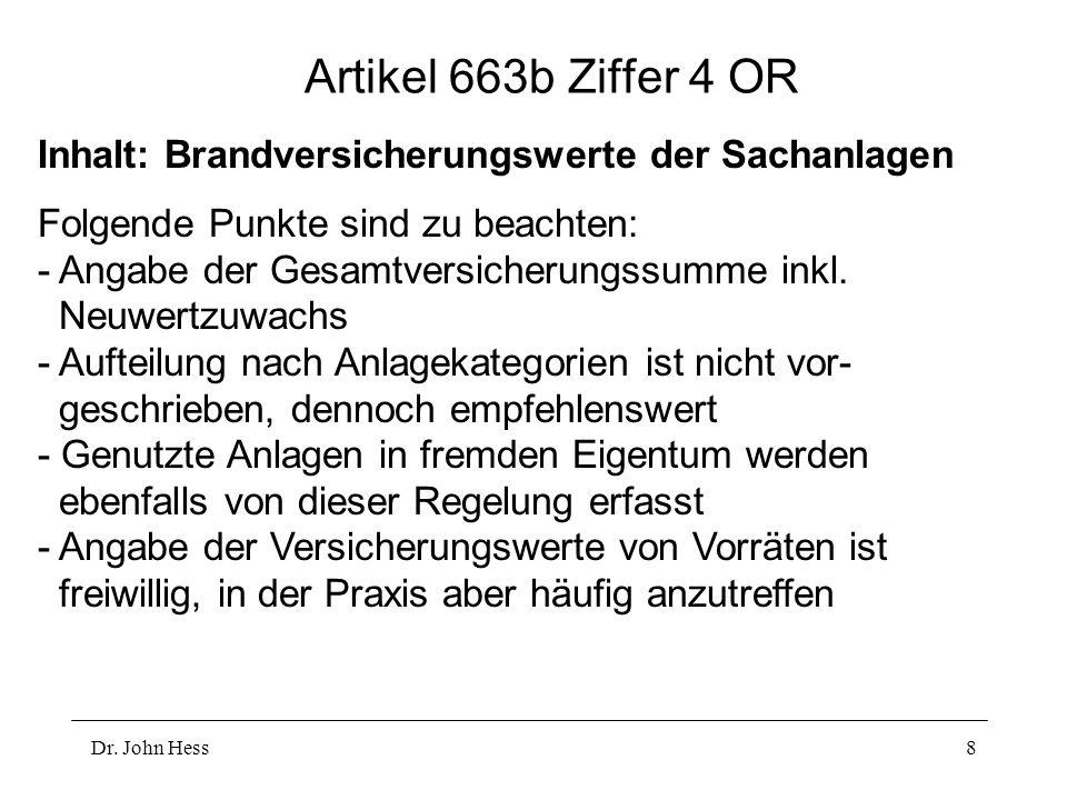 Artikel 663b Ziffer 4 OR Inhalt: Brandversicherungswerte der Sachanlagen.