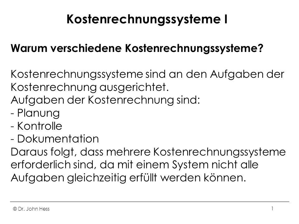 Kostenrechnungssysteme I