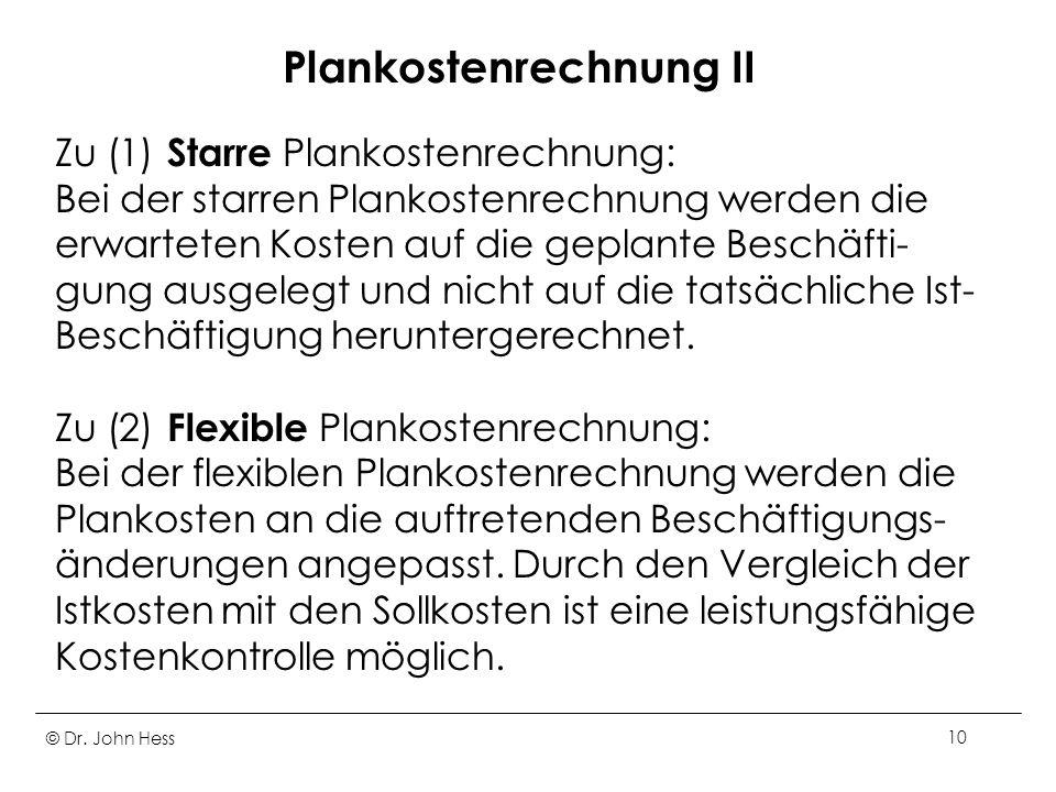 Plankostenrechnung II