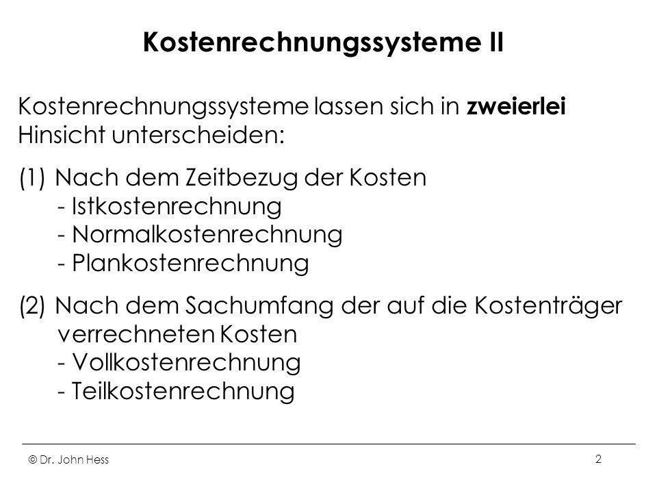 Kostenrechnungssysteme II