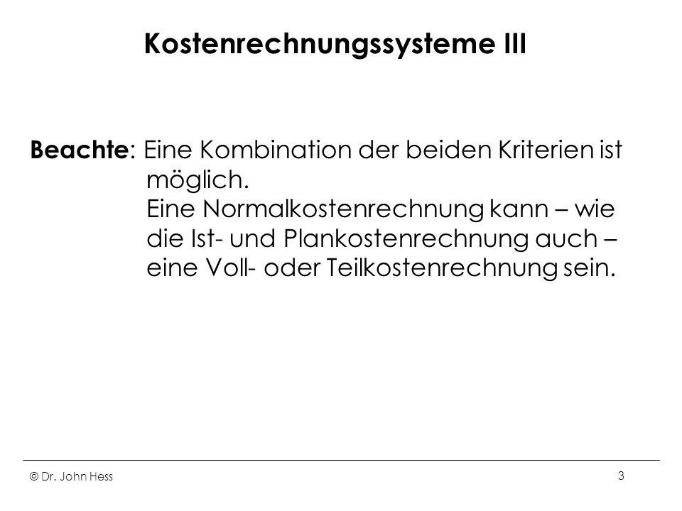 Kostenrechnungssysteme III