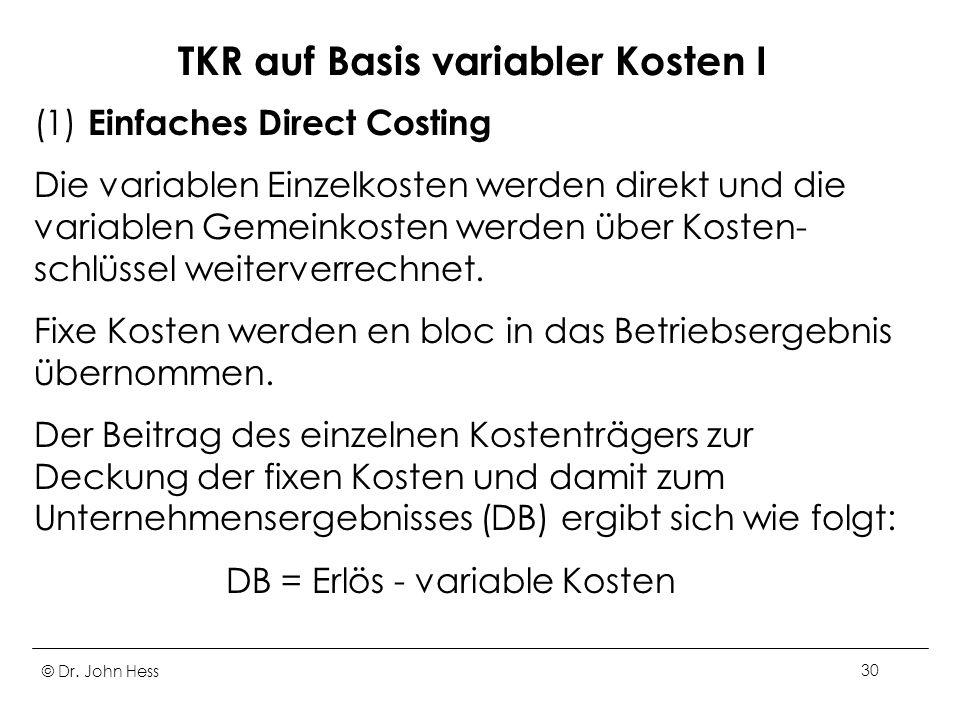 TKR auf Basis variabler Kosten I