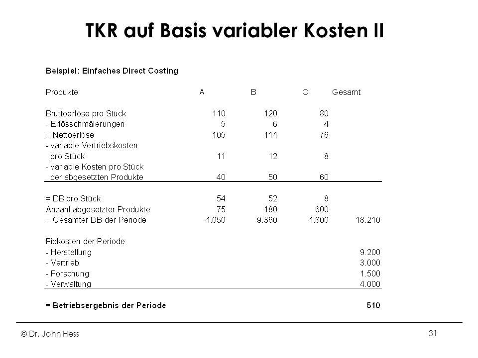 TKR auf Basis variabler Kosten II