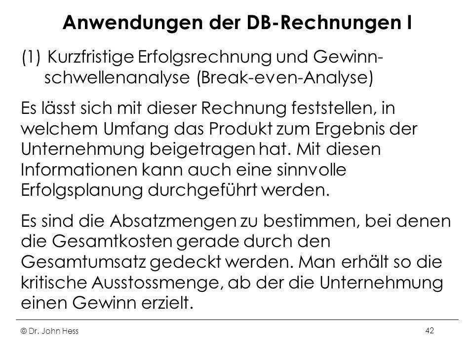 Anwendungen der DB-Rechnungen I