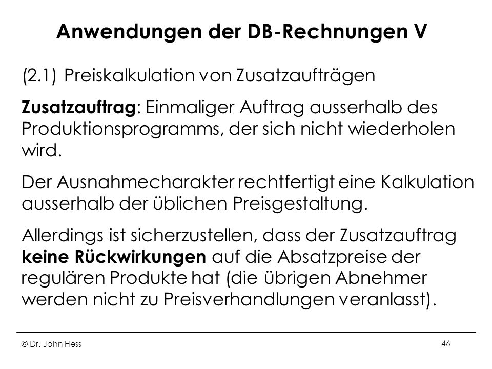 Anwendungen der DB-Rechnungen V