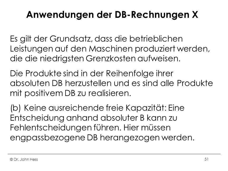 Anwendungen der DB-Rechnungen X
