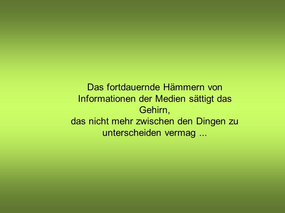 Das fortdauernde Hämmern von Informationen der Medien sättigt das Gehirn, das nicht mehr zwischen den Dingen zu unterscheiden vermag ...