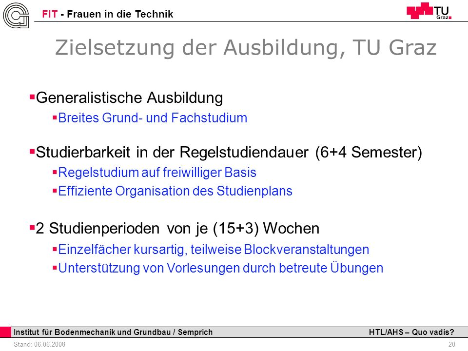 Zielsetzung der Ausbildung, TU Graz