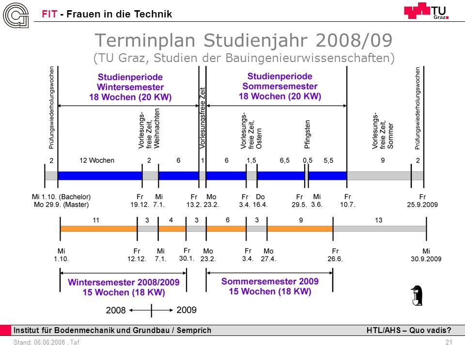 Terminplan Studienjahr 2008/09 (TU Graz, Studien der Bauingenieurwissenschaften)