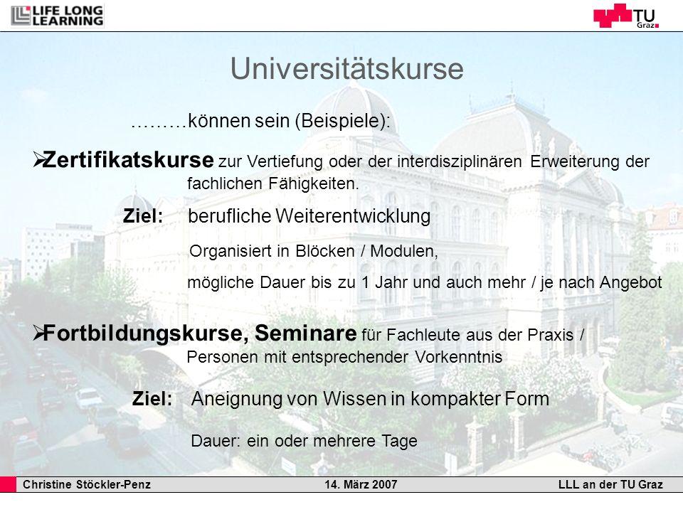 Universitätskurse ………können sein (Beispiele):