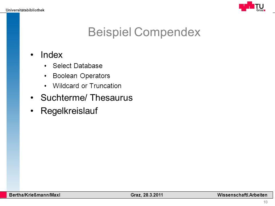 Beispiel Compendex Index Suchterme/ Thesaurus Regelkreislauf