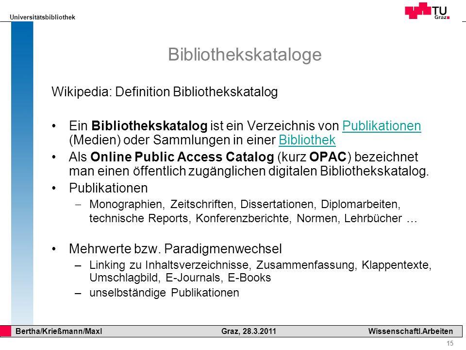 Bibliothekskataloge Wikipedia: Definition Bibliothekskatalog
