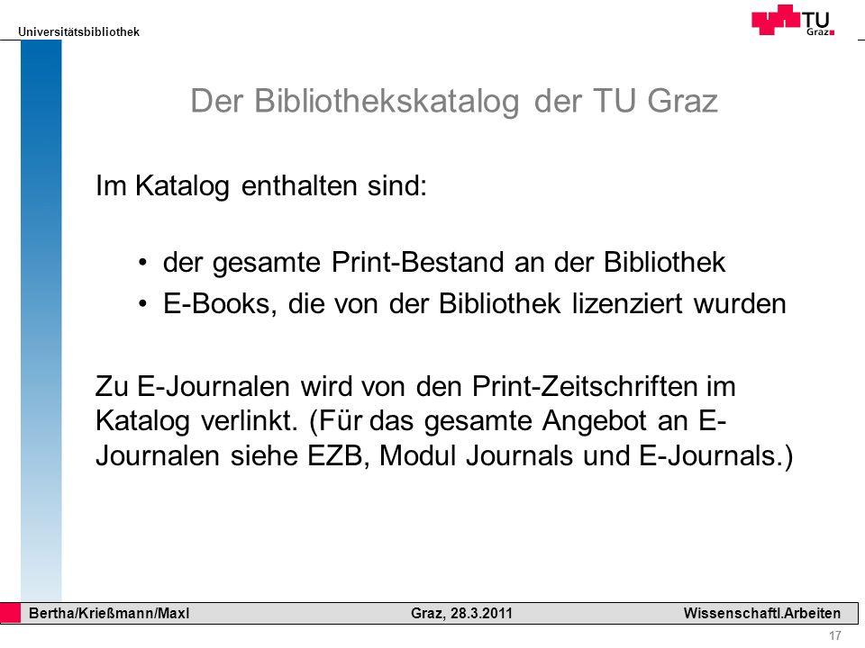 Der Bibliothekskatalog der TU Graz