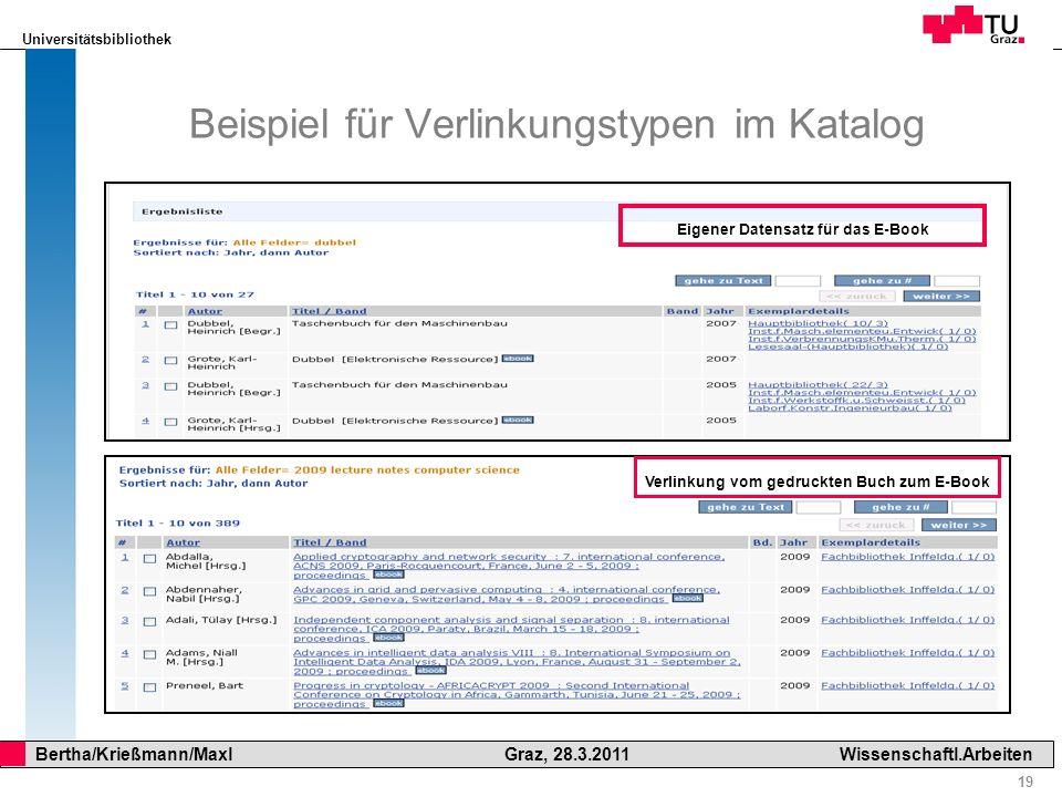 Beispiel für Verlinkungstypen im Katalog