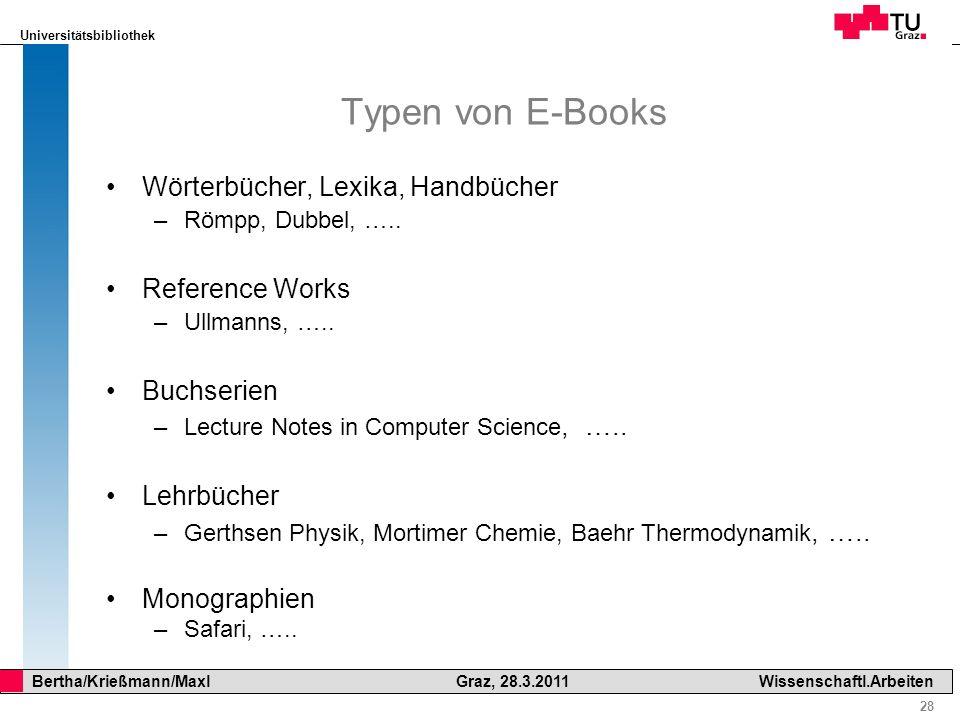 Typen von E-Books Wörterbücher, Lexika, Handbücher Reference Works