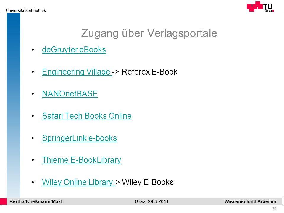 Zugang über Verlagsportale