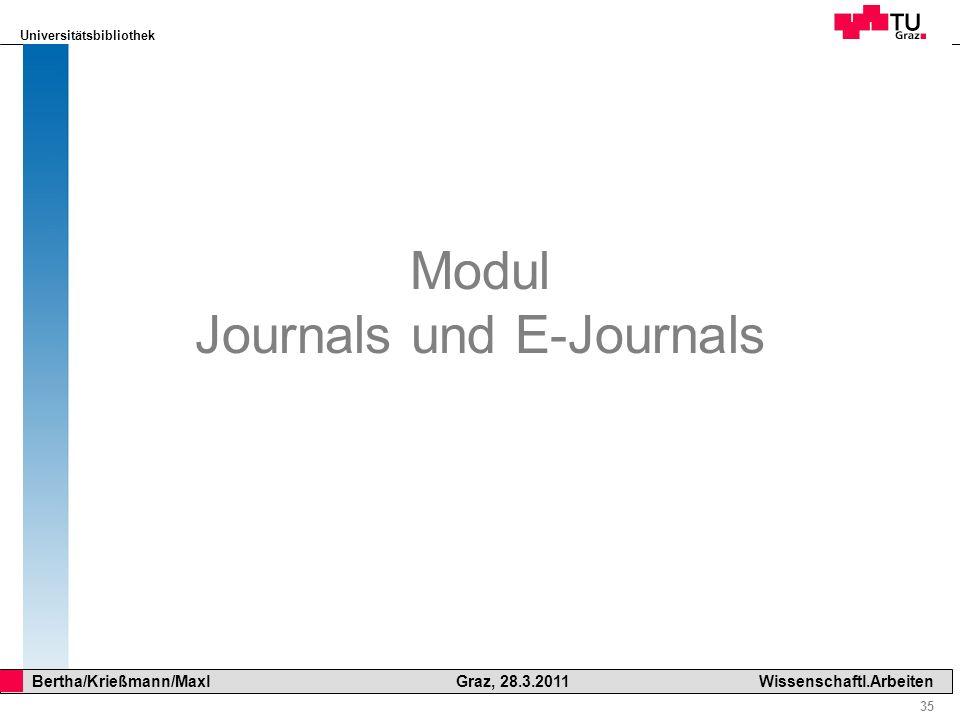 Modul Journals und E-Journals