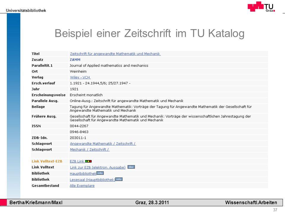 Beispiel einer Zeitschrift im TU Katalog