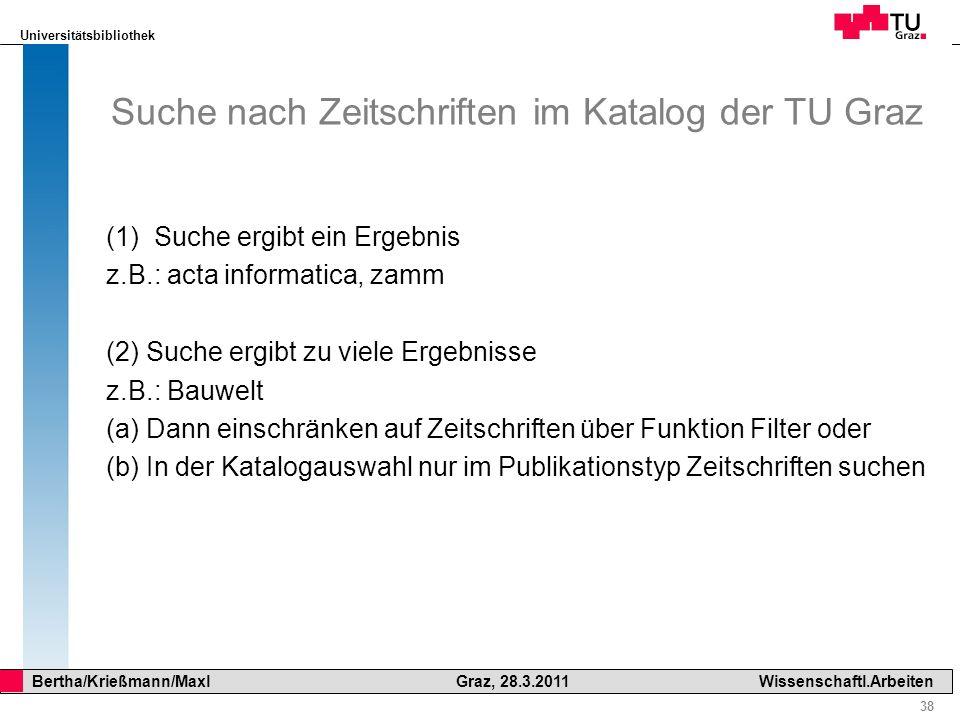 Suche nach Zeitschriften im Katalog der TU Graz