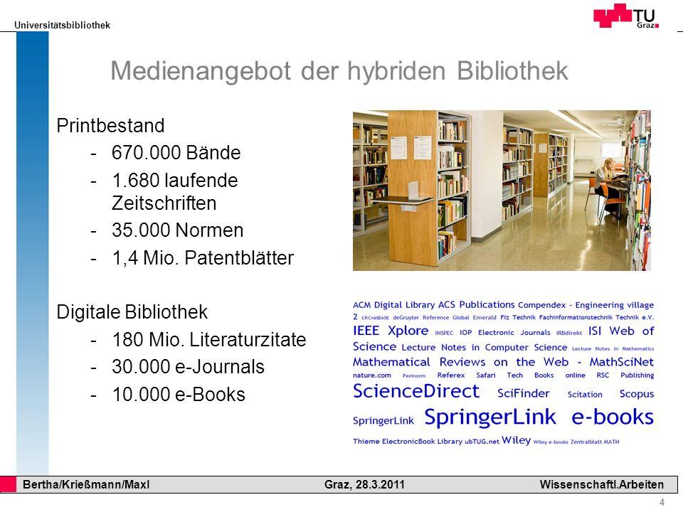 Medienangebot der hybriden Bibliothek