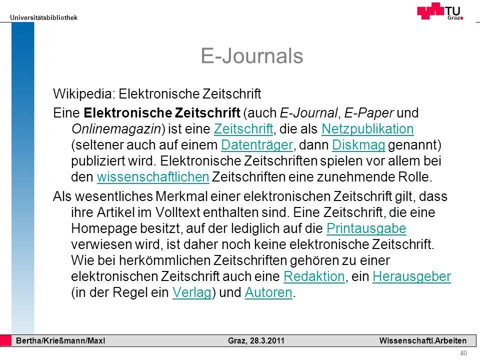 E-Journals Wikipedia: Elektronische Zeitschrift