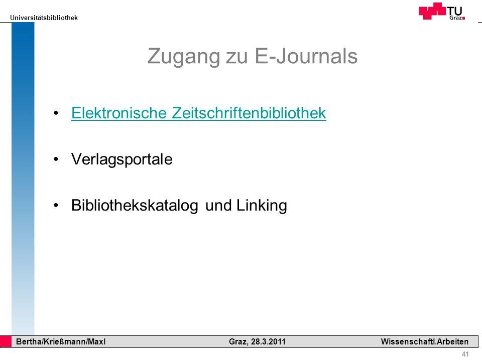 Zugang zu E-Journals Elektronische Zeitschriftenbibliothek