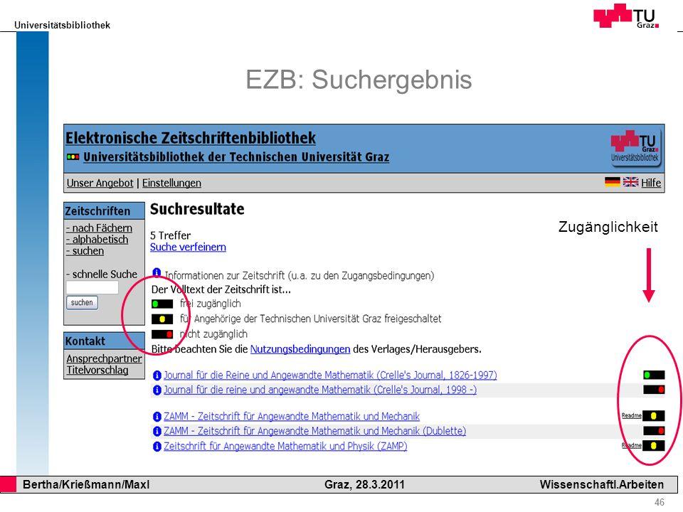 EZB: Suchergebnis Zugänglichkeit
