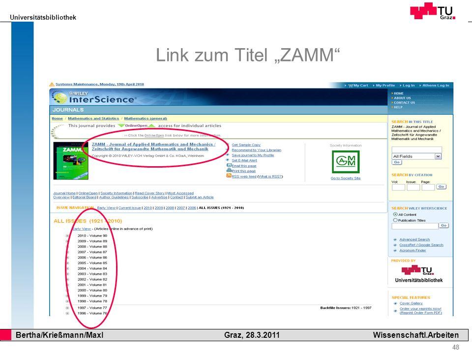 """Link zum Titel """"ZAMM"""