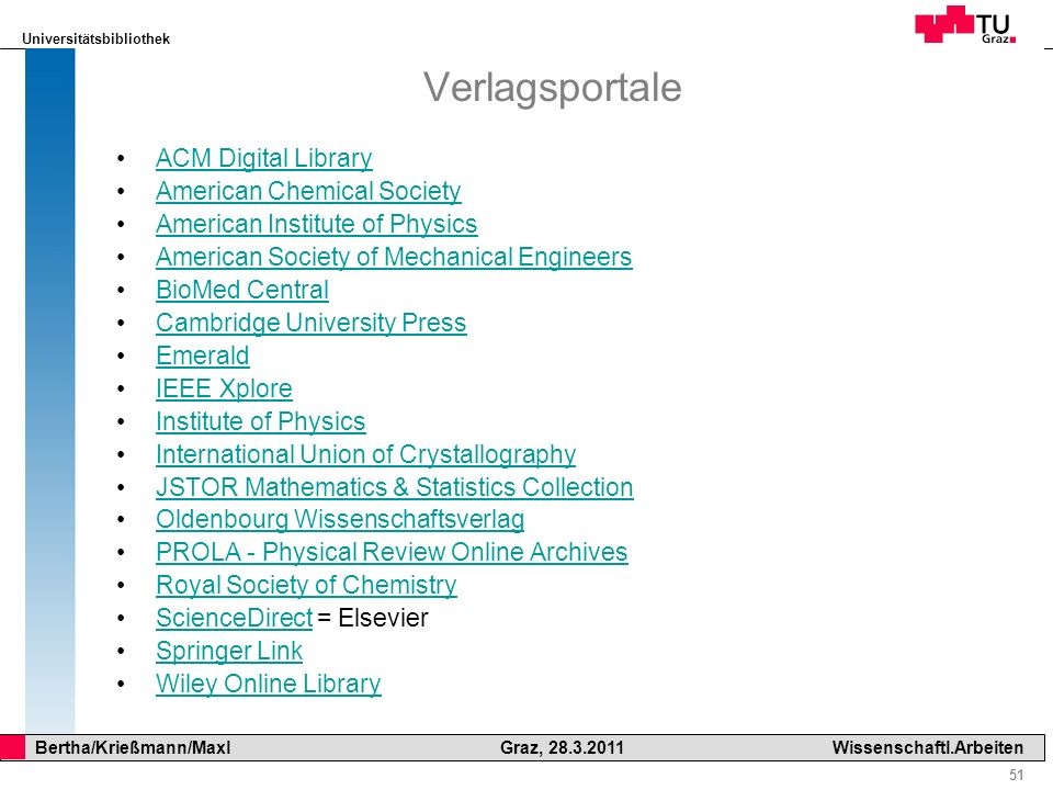 Verlagsportale ACM Digital Library American Chemical Society