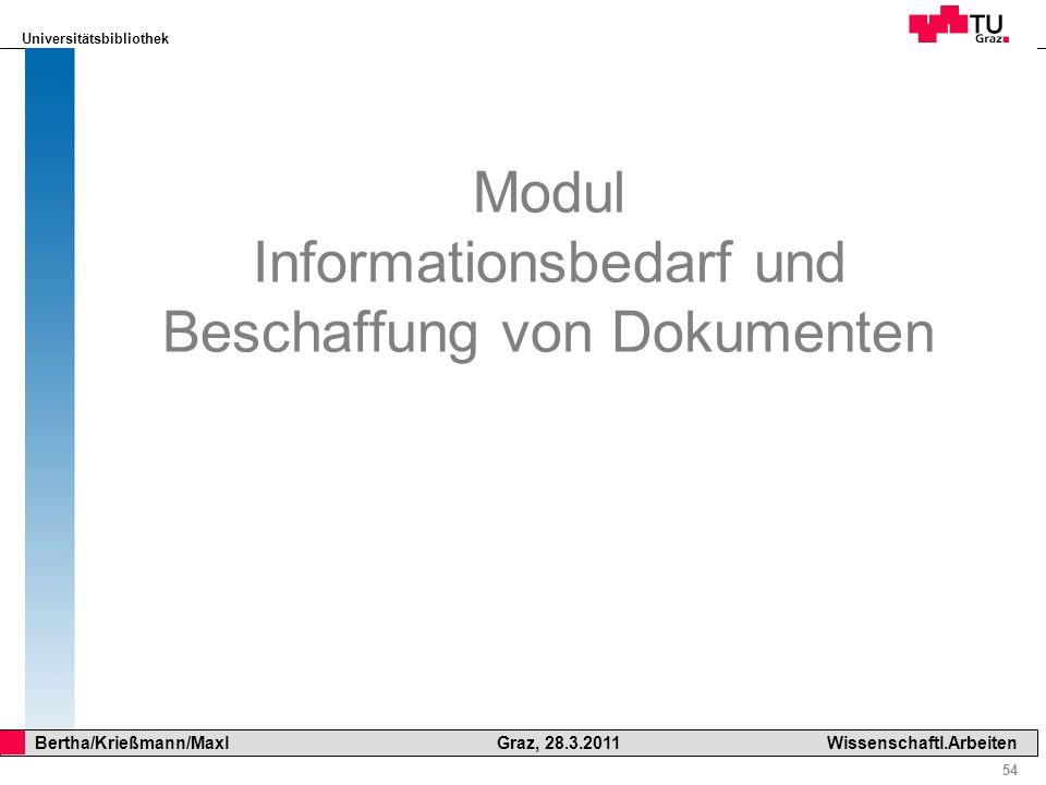 Modul Informationsbedarf und Beschaffung von Dokumenten