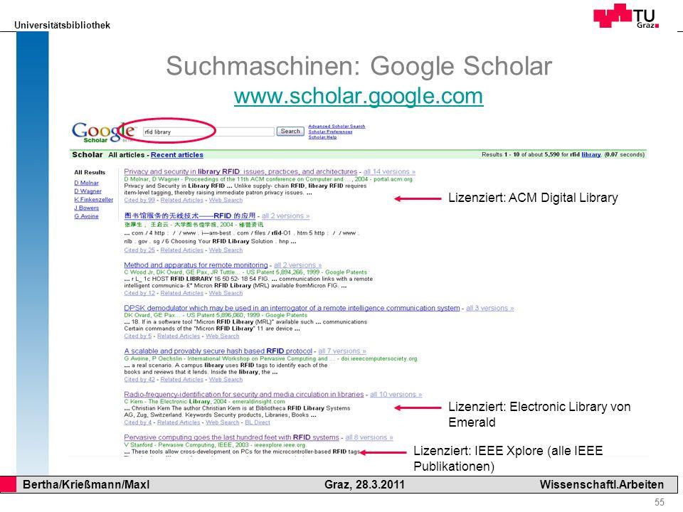 Suchmaschinen: Google Scholar www.scholar.google.com