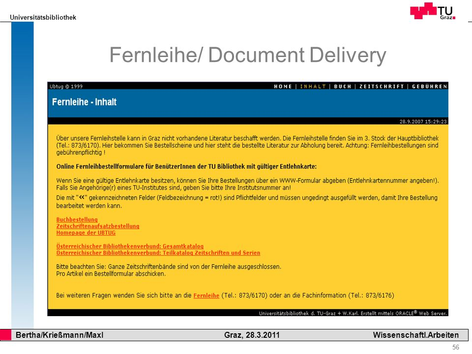 Fernleihe/ Document Delivery