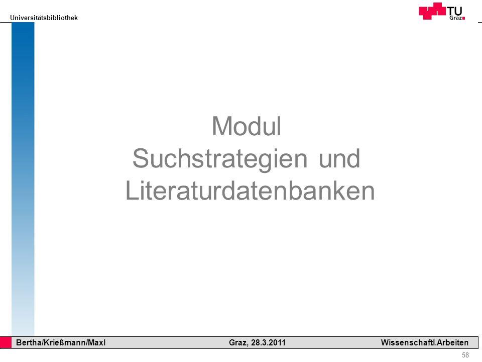 Modul Suchstrategien und Literaturdatenbanken