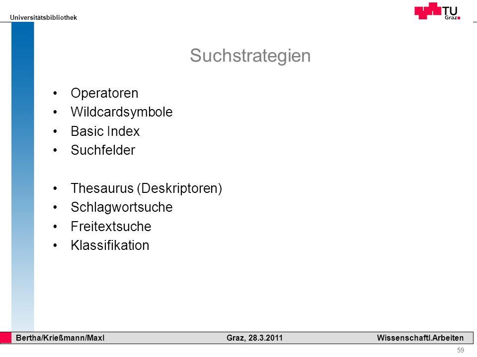 Suchstrategien Operatoren Wildcardsymbole Basic Index Suchfelder