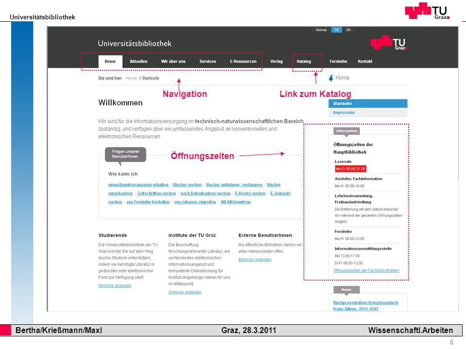 Navigation Link zum Katalog Öffnungszeiten